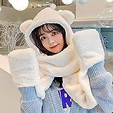 Cappello da orecchio da orso per le donne Guanto da sciarpa con cappuccio in peluche 3 in 1 Set Cappello invernale casual caldo Cappelli di lana di agnello artificiale per casual all'aperto,Milk white