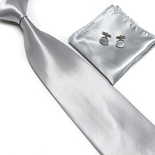 Cravate + Pochette + Bouton de Manchettes Satinée - Gris Clair - Neuf