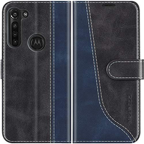 Mulbess Handyhülle für Motorola Moto G8 Power Hülle Leder, Motorola Moto G8 Power Handy Hülle, Modisch Flip Handytasche Schutzhülle für Motorola Moto G8 Power, Schwarz