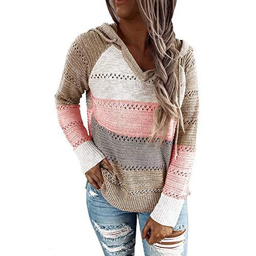 iMixCity Suéter con Capucha Ahuecado para Mujer Bloque de Color Casual Patchwork con Cuello en V Jerseys túnica Tops Sudadera (Caqui, M)