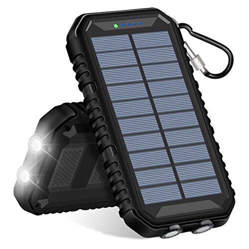 Hiluckey Solar Powerbank 15000mAh Solar Ladegerät mit Dual 2,4A Output und LED Leuchten Wasserdicht Tragbar Power Bank für iPhone, iPad, Samsung, LG und andere Smartphone