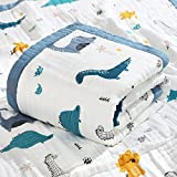 Inshere Baby Blanket Quilt - 100% Cotton Soft Baby Quilts for Boys & Girls, Playful Designs,10 Lightweight & Breathable Layers, Newborn Nursery & Blanket, Baby Towels(Dinosaur)