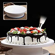 Unity Brand™ Plastic Cake Tools 360 Round Easy Rotate Turntable Revolving Cake Decorating Turntable Stand, 28cm, White