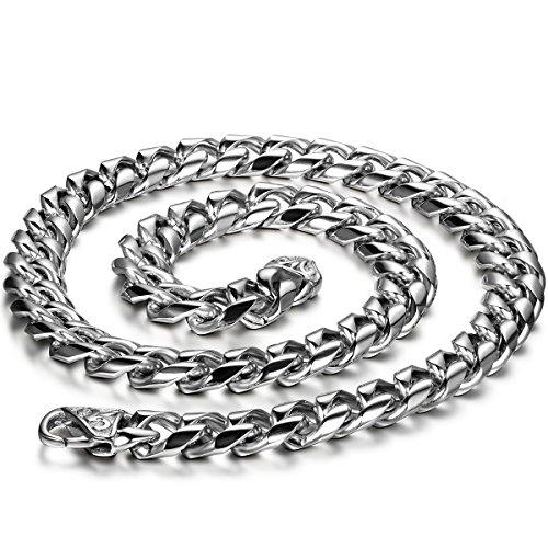 JewelryWe Schmuck Herren Halskette, Edelstahl, große schwere Fahrradkette Panzerkette Silber Kette, Breit 11mm 55cm