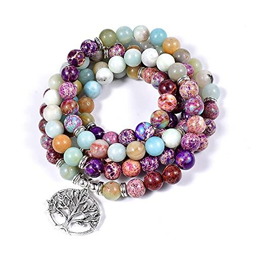 PPuujia Pulsera con piedras preciosas naturales 108 de cáñamo para mujer, accesorios espirituales de curación (color metal: árbol)