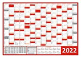 Wandkalender/Wandplaner 2022 rot (gerollt) DIN A0 Format (841 x 1189 mm) 14 Monate, komplette Jahresvorschau 2023 und Ferientermine/Feiertage aller Bundesländer