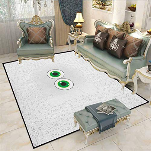 Trippy Outdoor Rugs for patios Outdoor Area Rug High Tech Hardware Circuit Board Backdrop with Eye Forms Digital Picture Desk mat for Carpet Pearl Black Jade Green 4 x 6 Ft
