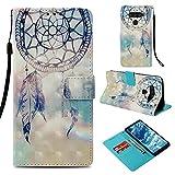 DodoBuy LG V50 ThinQ Hülle 3D Flip PU Leder Schutzhülle Stand Handy Tasche Brieftasche Wallet Hülle Cover für LG V50 ThinQ - Traumfänger Blau