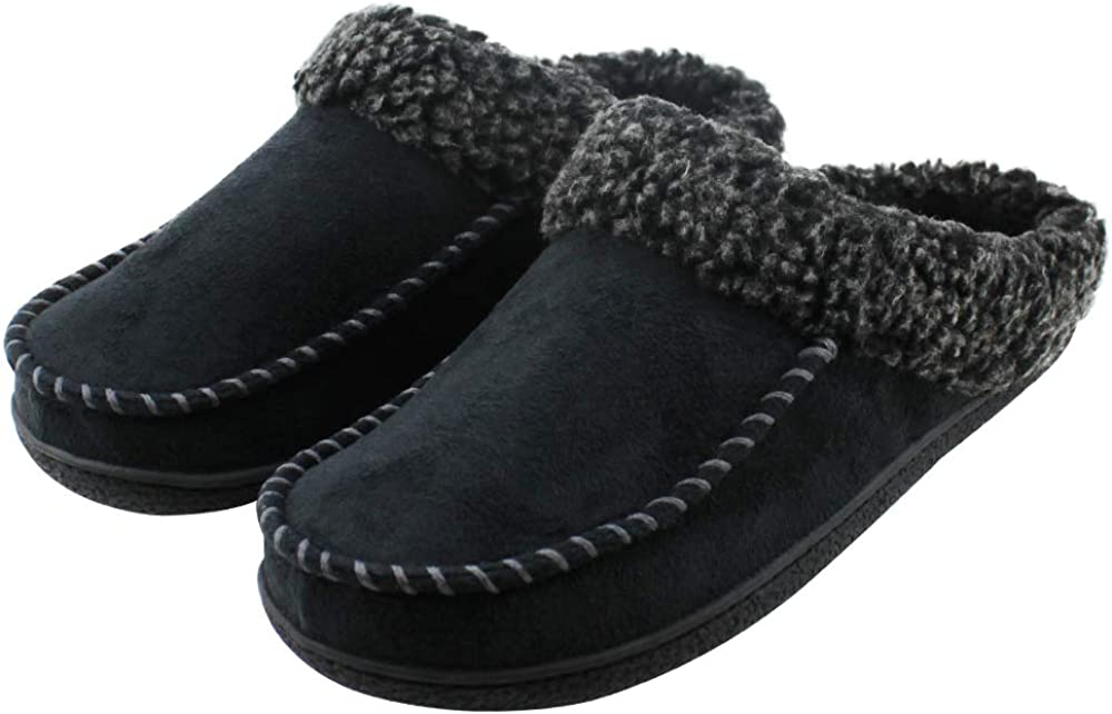 Magtoe Men Memory Foam Moccasin Indoor Slippers Two-Tone Berber Fleece Collar House Shoes
