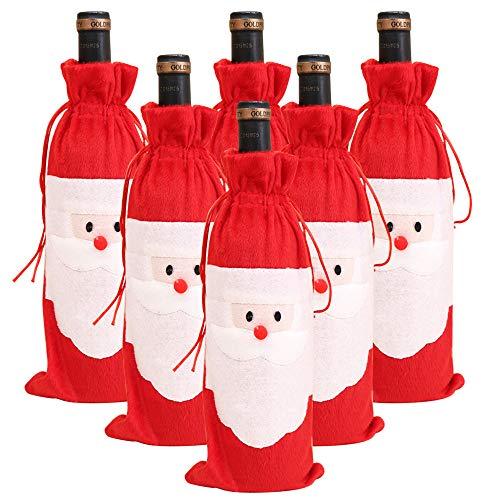 DECARETA 6 Stück Weihnachten Weinflasche Tasche Abdeckung Weihnachtsmann Weintasche Weihnachten Flanell Wein Flasche Tasche Cover Deko Dress up mit Kordelzug Weinbeutel für Wein Champagner Weihnachten