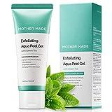MOTHER MADE Exfoliating Aqua Peeling Gel with Green Tea, Vitamin C, Hyaluronic Acid, 3.38 fl.oz - Extra Gentle Korean Facial Peel Scrub Exfoliator, Vegan, Cruelty-Free, Natural Skincare