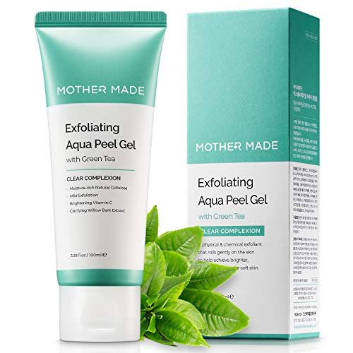 [MOTHER MADE] Exfoliating Aqua Peeling Gel Exfoliator for Face with Green Tea, 3.38 fl.oz | A Mild Peel Solution for Dead Skin Removal & Deep Cleansing | Vegan, Cruelty-free, Natural & Clean Skincare