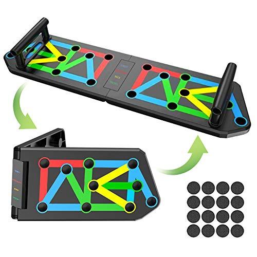 TWBEST Tabla de Flexiones,14 en 1 Push up Rack Board,Plegable Soportes,Flexiones Equipo...