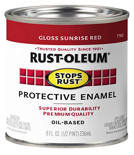 Rust-Oleum 7762730 Stops Rust Brush On Paint, Half Pint, Gloss Sunrise Red