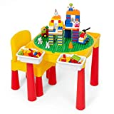 Play Platoon Kids Activity Table Set - 5 in 1 Water Table, Building Brick Table, Craft Table and Sensory Table with Storage - Includes Chair, 130 Big Blocks and 2 Storage Boxes