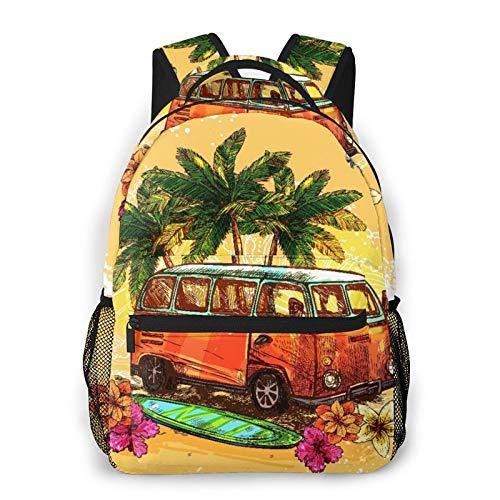 MAYBELOST Mochila casual de doble hombro,Surf Hippie Clásico Viejo autobús con tabla d,Mochila ligera y duradera Mochila deportiva para viajes de negocios Mochila para adolescentes adultos