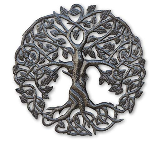 Small Tree of Life Wall Art, 17.25 Inches Round, Haitian Metal Artwork Decor, Celtic Family Trees, Modern Plaque, Handmade in Haiti, Fair Trade Certified