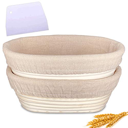 10 Inch Oval Shaped Bread Proofing Basket 2 Set, Yeuligo Handmade Bread Banneton Proofing Basket, Baking Bowl Kit with Plastic Dough Scraper and Proofing Cloth Liner, Gifts for Bakers, Beginner
