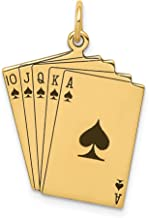 Jewelry Pendants & Charms Themed Charms 14k Enameled Royal Flush Playing Cards Charm