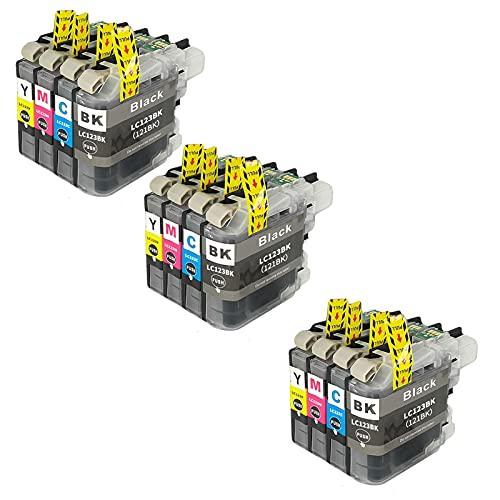SXCD LC123 - Cartucho de tinta para Brother (repuesto para impresoras MFC-J4610DW J4710DW J470DW J6920DW DCP-J4110DW J132W, compatible con 4 colores, 3 unidades)