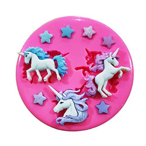 Fairie Blessings - Molde de silicona para decoración de tartas, cupcakes, diseño de unicornios y estrellas