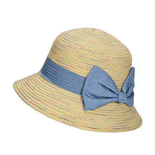 Miuno® Kinder Hut Mädchen Sonnenhut weich Stroh Glocke Schleife H51325 (Beige)