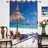 Cortinas opacas con diseño de luna de miel del Caribe, diseño de playa y océano, con ojales impresos, panel individual de 160 x 160 cm, para oficina, color blanco, marrón claro y turquesa