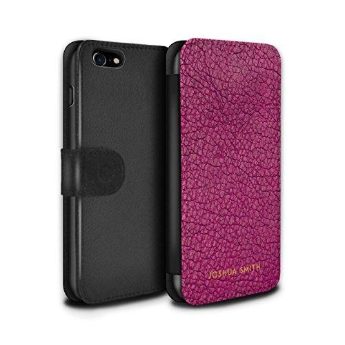 Gepersonaliseerde Case Portemonnee Cover voor Apple iPhone SE 2020, Gedrukt Aangepaste Lederen Effect Raspberry Roze Stempel Ontwerp Initiële Naam Tekst Aangepaste DIY Flip PU Leer