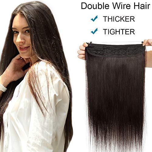 """SEGO Extension Cheveux Transparent Fil Naturel Froid (Double Fils Volume Epais) - 22""""/55CM 1B#Noir Naturel Meche Humain Bande Enfiler"""