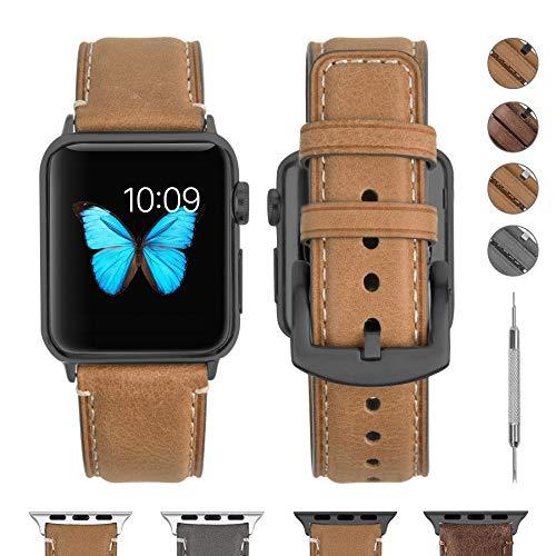 Fullmosa Correa Compatible con Apple Watch 38 mm 40 mm 42 mm 44 mm, YOLA Serie Pulsera de Piel Bruñida para iWatch SE Series 6/5/4/3/2/1, Marrón Claro + Herraje Gris 42mm