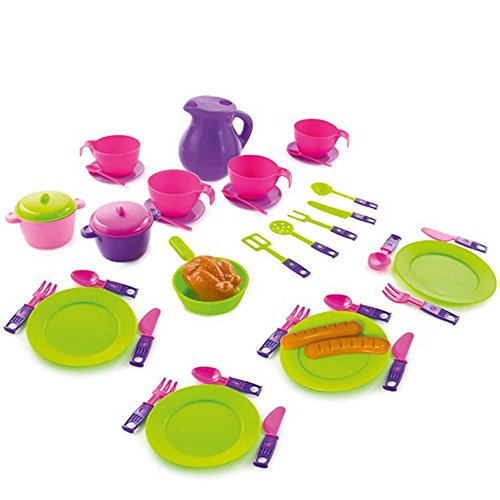 NANAHHT Dinner Service Meal Play Cutlery Cups Plates Tea Set Toy 42 Elements MochToys