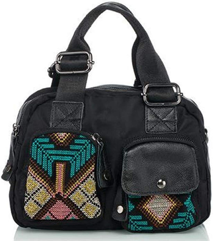 Umhängetasche, Rucksack, Rucksack, Rucksack, Vintage-Tasche, SchultertascheNeue Kreuzstich-Oxford mit tragbarer schwarzer Damenhandtasche aus mittelgroßem Ethno-Material B07KKDBZKR 45ac23