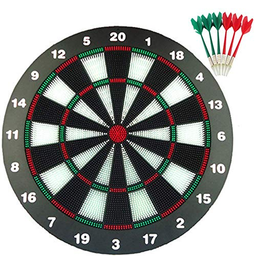 LXLH Dart Board Set, Safety Dart Board für Kinder, 16 Zoll Gummi Dart Board Set mit 6 Soft Dart Safety Darts Tolles Spiel für Kinder und Erwachsene, Büro- und Familienzeit