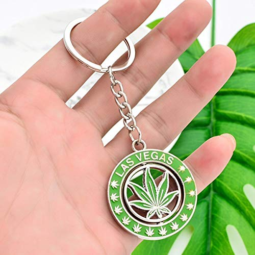 Rotatable Las Vegas Cannabi Leaf Key Chain Light Green Plant Keychain For Men Women Zinc Alloy Round keyring For Friends accessories (Color : Plant Leaf)