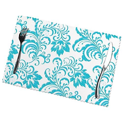 Manteles Individuales para Comedor, Cocina, Restaurante, Mesa, Verde Azulado, Azul, Agua, Blanco, Damasco Floral, 30 x 45 cm
