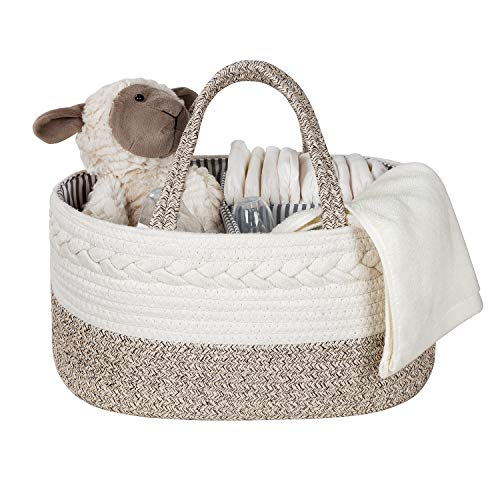 Organizador de pañales para bebé - Cesta de pañales, Organizador de pañales Multifuncional con 3 compartimentos extraíbles