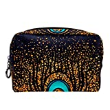 Retro 1920'S Gold Sparkling Feather Make Up Cosmetics Pouch Bag Case Multifunction Portable Toiletry Organizer for Travel Makeup Utensils