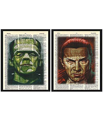 Graf Dracula & Frankenstein 2er Pack Wanddekoration Count Dracula & Frankenstein 2er Pack Wörterbuch-Kunstdrucke je 8 x 10