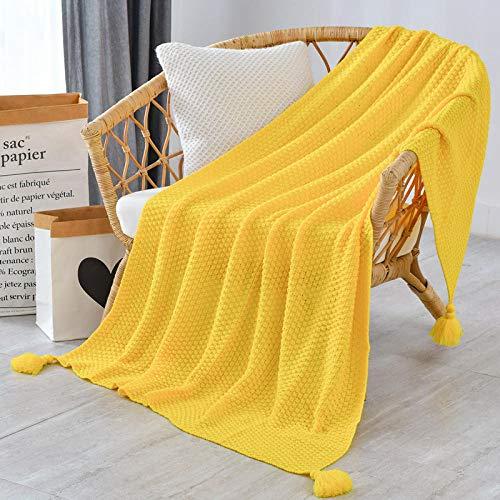 Wohndecke, Weiche & Warme Sofadecke Fleecedecke, als Bettdecke Couchdecke und Tagesdecke-Yellow_130x170 cm