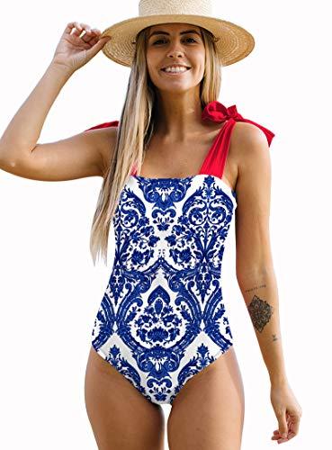Women One Piece Swimsuit Self Tie Shoulder Swimwear Paddings Bathing Suit(Print 7,X-Large)