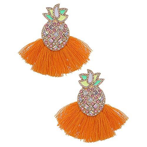 Pendientes de gota de piña Boho para mujer Color borla Pendiente colgante Jewelry-5