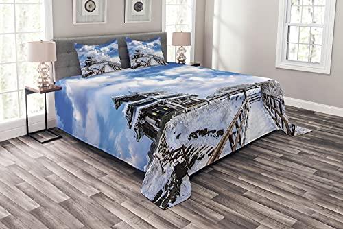 ABAKUHAUS Schneeberg Tagesdecke Set, Berg Deogyusan Kunst, Set mit Kissenbezügen Waschbar, 220 x 220 cm, Azurblau & Multicolor