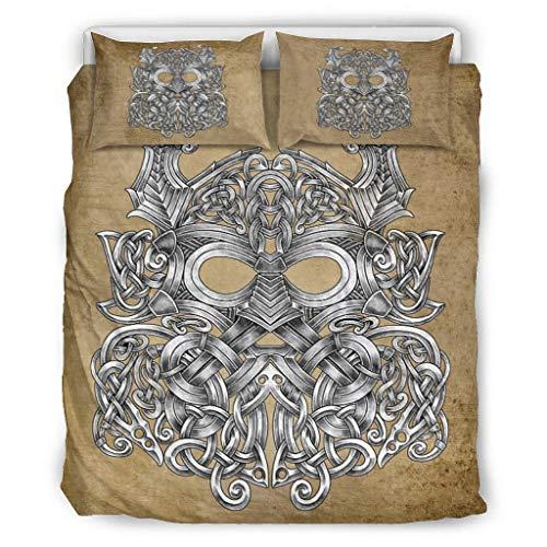 COMBON Shop Juego de ropa de cama Viking Odin suave y colorido de 3 piezas (1 funda de edredón y 2 fundas de almohada), color blanco arrugado 229 x 229 cm