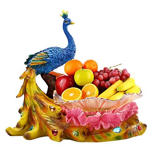 Liushop Frutero Pintado a Mano Placa de la Fruta Europea Fruta Placa de Cristal de la Placa del Pavo Real de la Fruta Decoración del Ornamento de la Resina de Regalo de la joyería (tamaño : L)