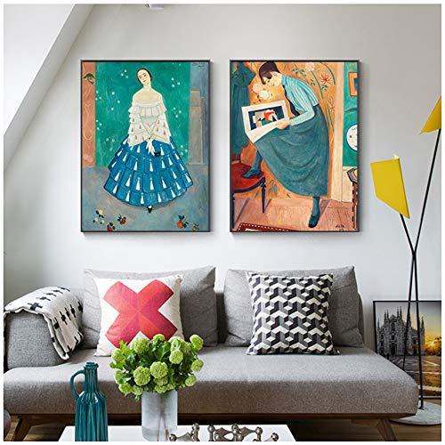 LingYuKeJi Wall Art Abstracto Pintura al óleo Grandes Mesas Caracteres e Impresiones Artísticas Niña Entrada 30 x 40 cm x 2 sin marco