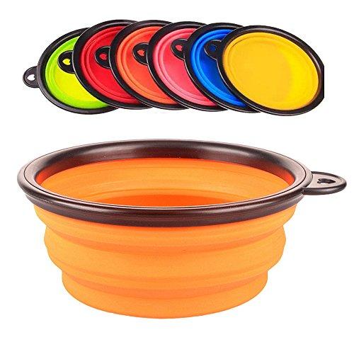 Yunt Gamelle en Silicone pour Chien - Gamelle Chien pour Voyage Pliable (orange)
