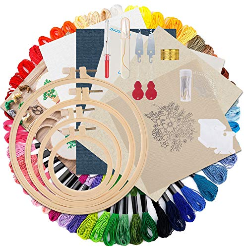 Epzia Stickerei Sticken Kreuzstich Set Anfänger Erwachsene Kinder mit Muster und Videoanweisungen, Stickrahmen, Stickgarn, Nadeln Set,Leinen Stoff