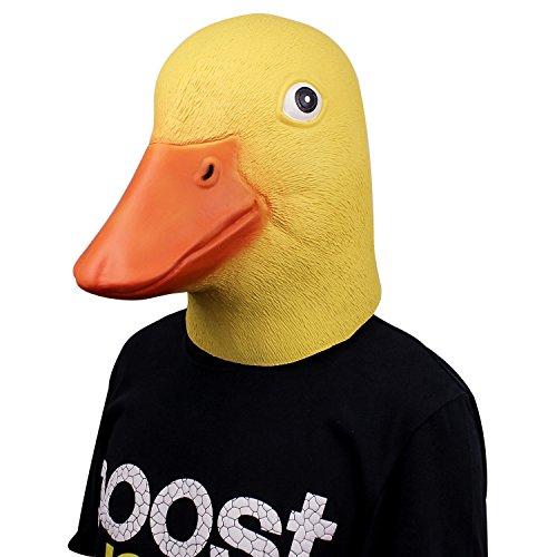 Neue Latex Gummi Humoristisch Lustig Ente Maske Gesicht Kopfmaske für Halloween Weihnachten Kostüm Dekoration Party Maskerade (Gelb Ente)