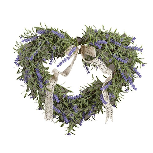 Your Heart's Delight 11.5' x 10' x 7.5' Heart Shaped Faux Lavender and Twig Wreath, Multi