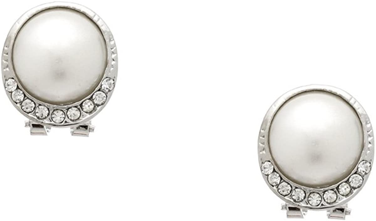 Dignified White Faux Pearl and Crystal Earrings - Perfect Weddin